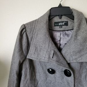 Black Rivet Wool Pea Coat